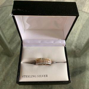 Gianni Bernini Stack Sterling Silver Cz Rings sz 8